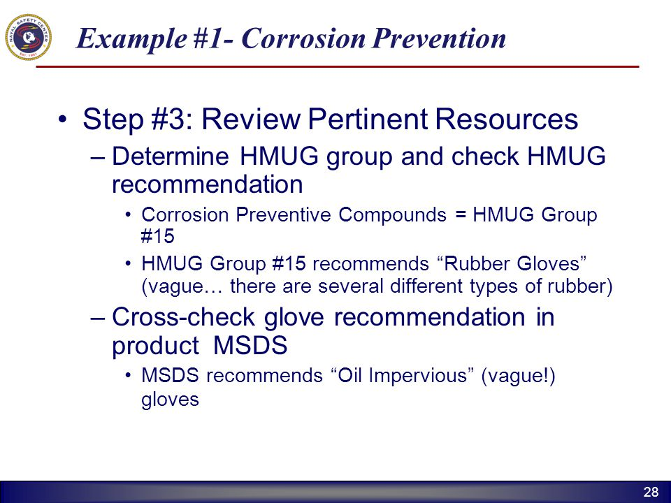 28 Example #1- Corrosion Prevention Step #3: Review Pertinent Resources –Determine HMUG group and check HMUG recommendation Corrosion Preventive Compo