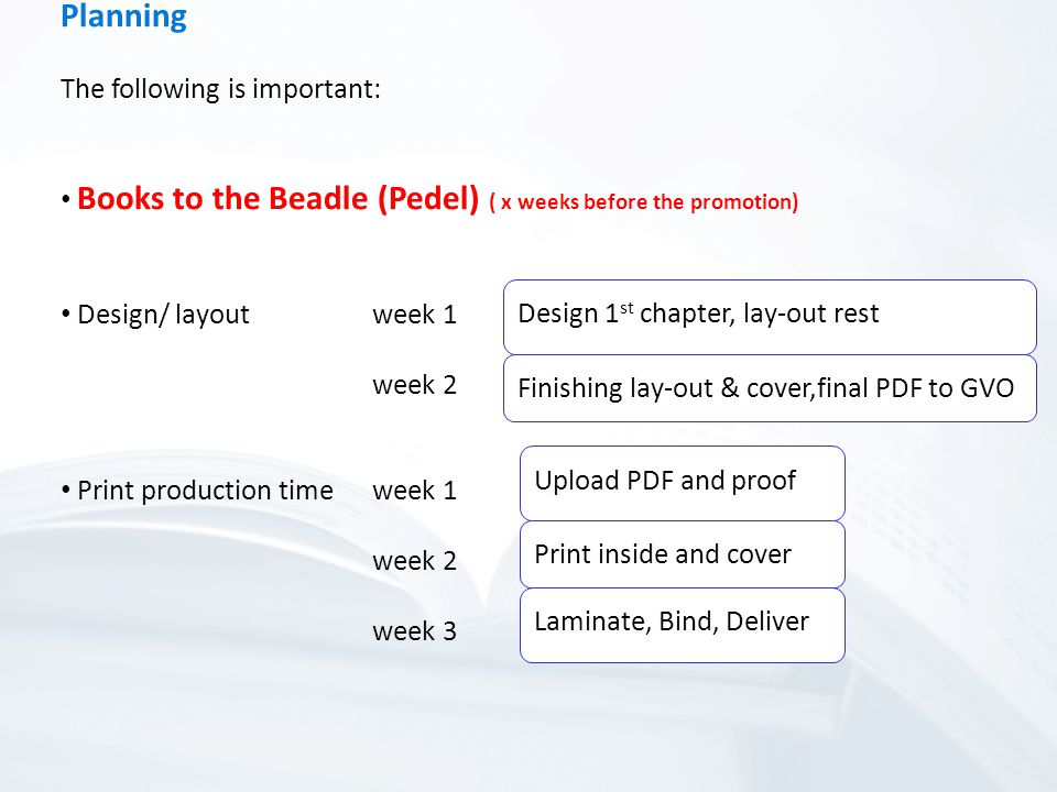 Planning The following is important: Books to the Beadle (Pedel) ( x weeks before the promotion) Design/ layoutweek 1 week 2 Print production timeweek 1 week 2 week 3 Upload PDF and proof Print inside and cover Laminate, Bind, Deliver Design 1 st chapter, lay-out rest Finishing lay-out & cover,final PDF to GVO