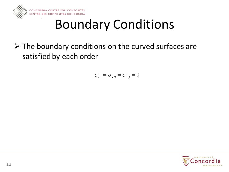 Boundary Conditions The boundary conditions on the curved surfaces are satisfied by each order 11
