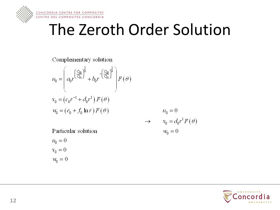 The Zeroth Order Solution 12