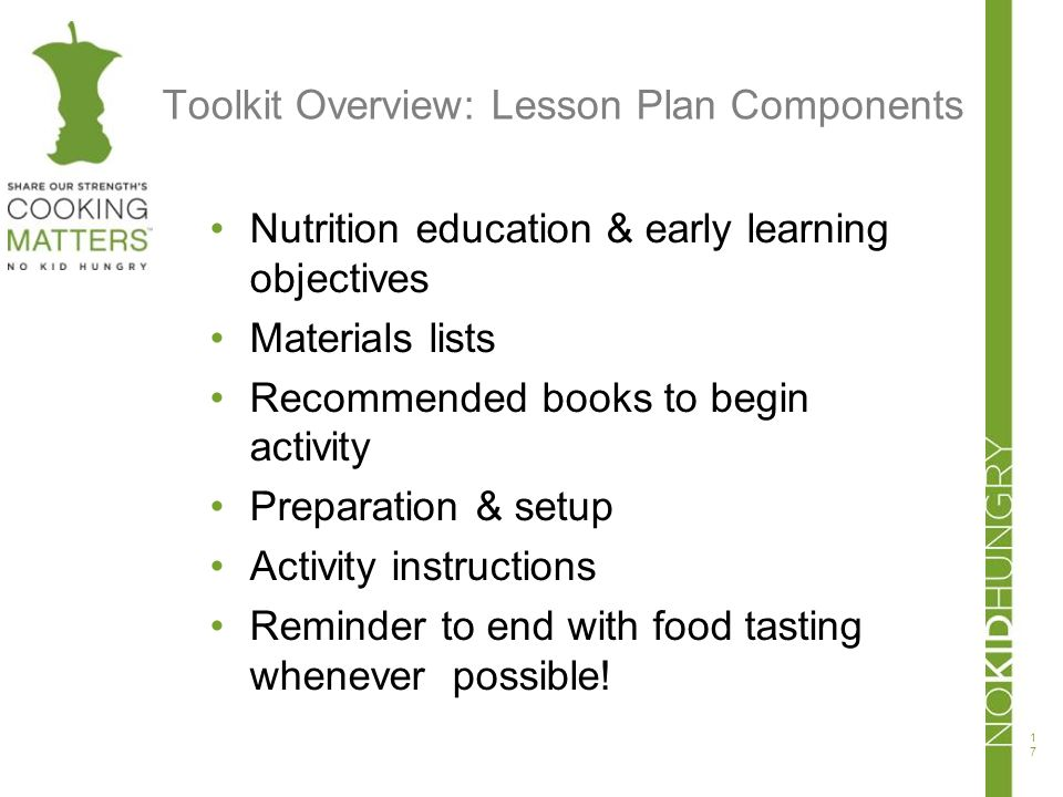 Toolkit Overview: Lesson Plan Components Nutrition education & early learning objectives Materials lists Recommended books to begin activity Preparati