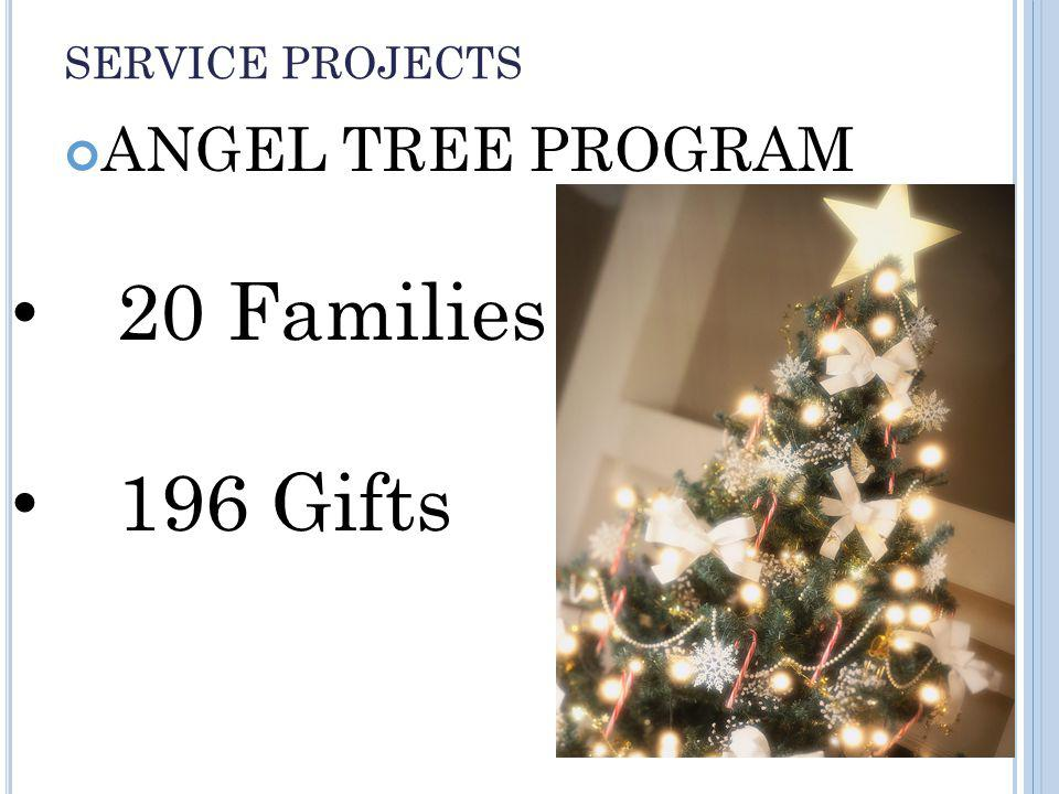 SERVICE PROJECTS ANGEL TREE PROGRAM 20 Families 196 Gifts