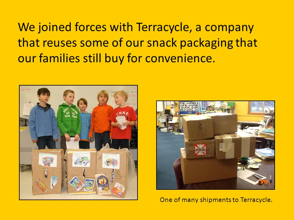 2013: Next Steps At the beginning of Second Grade, we really had cut down our trash, but we still had a stubborn amount of snack packaging.