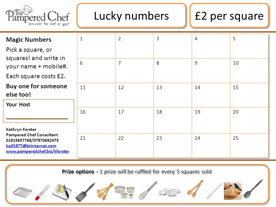 Kathryn Forster Pampered Chef Consultant 01915657768/07970692473 kajf1977@btinternet.com www.pamperedchef.biz/kforster £2 per square Lucky numbers Magic Numbers Pick a square, or squares.