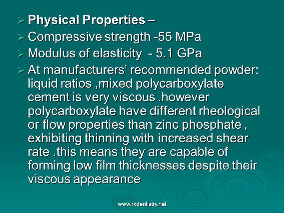 Physical Properties – Physical Properties – Compressive strength -55 MPa Compressive strength -55 MPa Modulus of elasticity - 5.1 GPa Modulus of elast