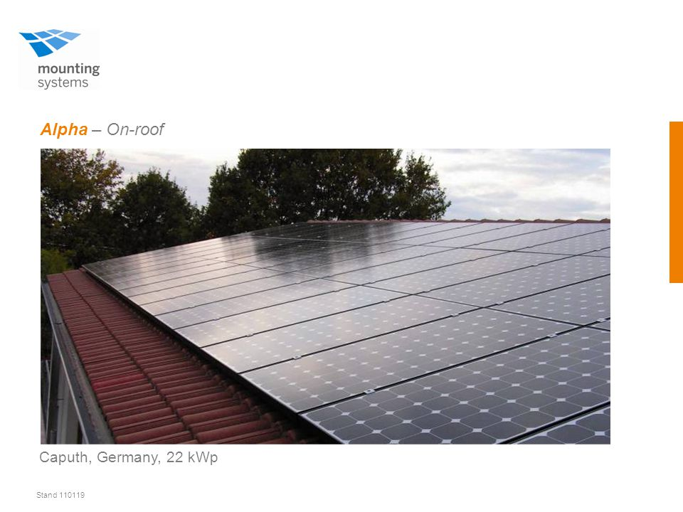 Stand 110119 Alpha – On-roof Caputh, Germany, 22 kWp