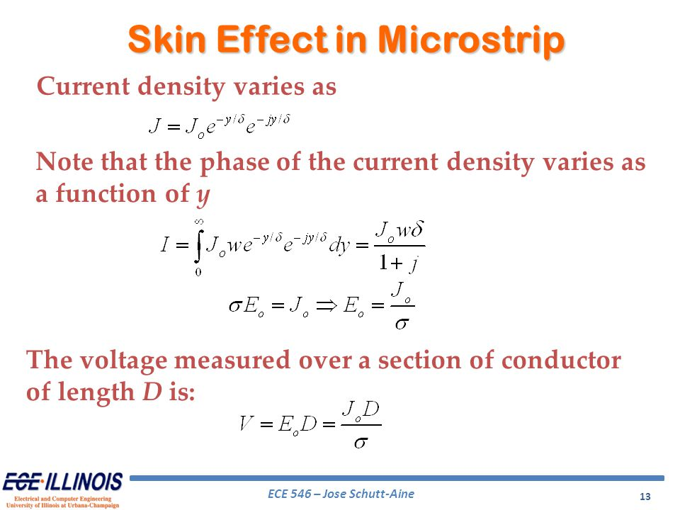 ECE 546 – Jose Schutt-Aine 13 Current density varies as Note that the phase of the current density varies as a function of y The voltage measured over