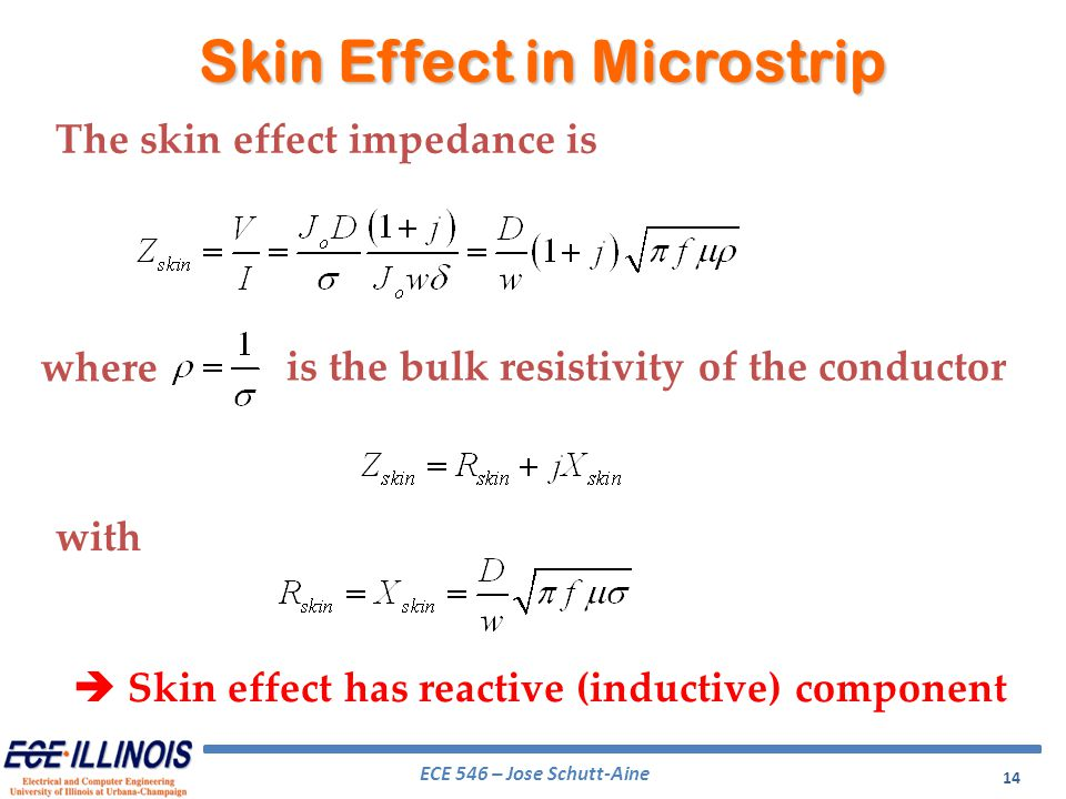 ECE 546 – Jose Schutt-Aine 14 The skin effect impedance is where Skin Effect in Microstrip is the bulk resistivity of the conductor with Skin effect h