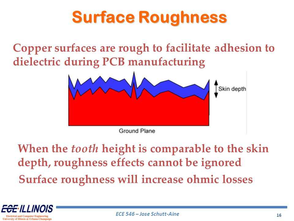 ECE 546 – Jose Schutt-Aine 16 When the tooth height is comparable to the skin depth, roughness effects cannot be ignored Surface Roughness Copper surf