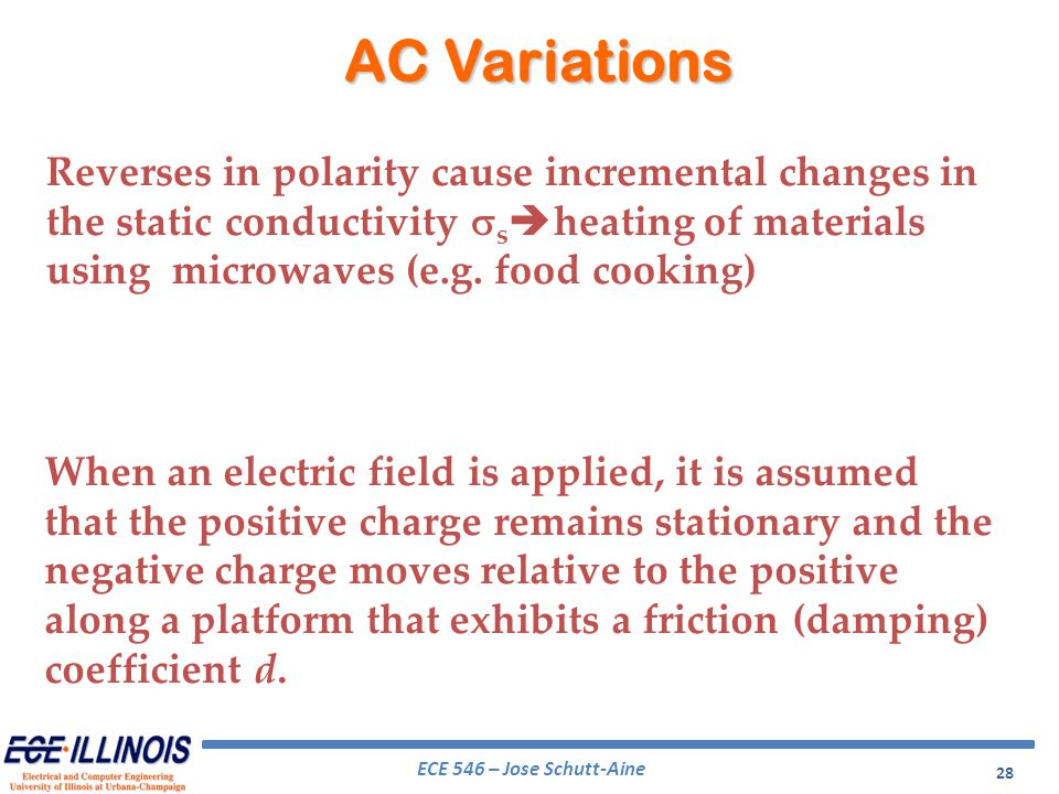 ECE 546 – Jose Schutt-Aine 28 Reverses in polarity cause incremental changes in the static conductivity s heating of materials using microwaves (e.g.