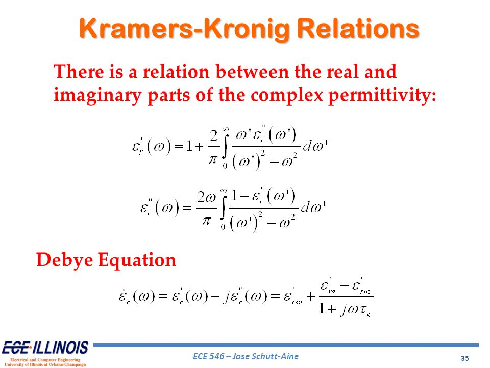 ECE 546 – Jose Schutt-Aine 35 Kramers-Kronig Relations There is a relation between the real and imaginary parts of the complex permittivity: Debye Equ