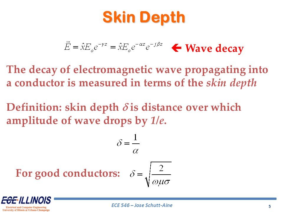 ECE 546 – Jose Schutt-Aine 5 Skin Depth The decay of electromagnetic wave propagating into a conductor is measured in terms of the skin depth For good