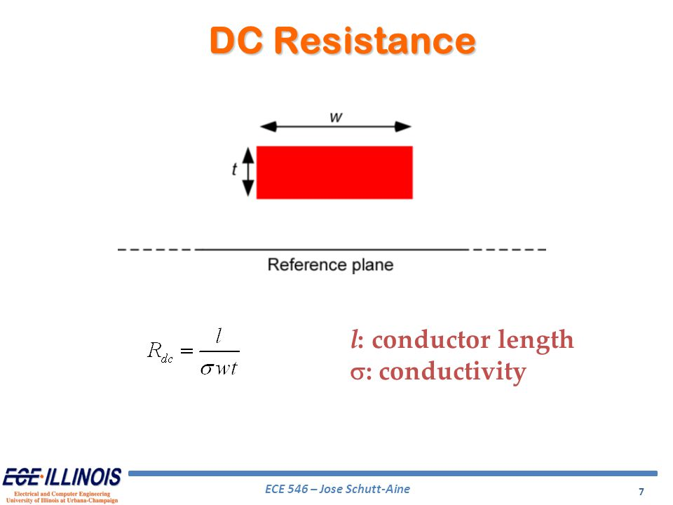 ECE 546 – Jose Schutt-Aine 8 AC Resistance l: conductor length : conductivity f: frequency