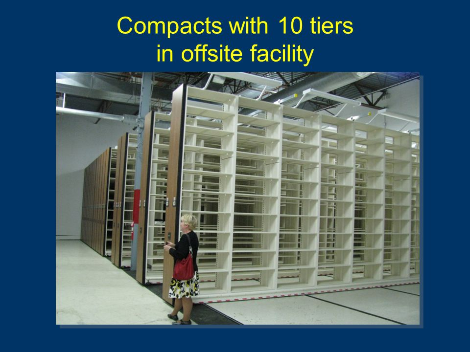 Compacts with 10 tiers in offsite facility