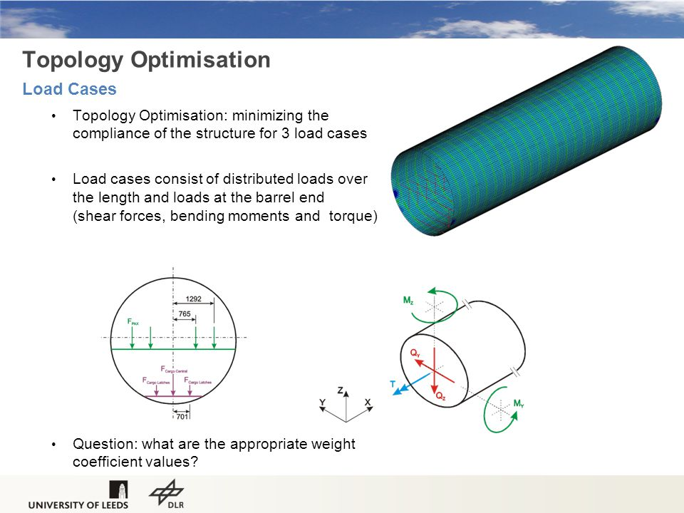 Topology Optimisation: minimizing the compliance of the structure for 3 load cases Load cases consist of distributed loads over the length and loads at the barrel end (shear forces, bending moments and torque) Question: what are the appropriate weight coefficient values.