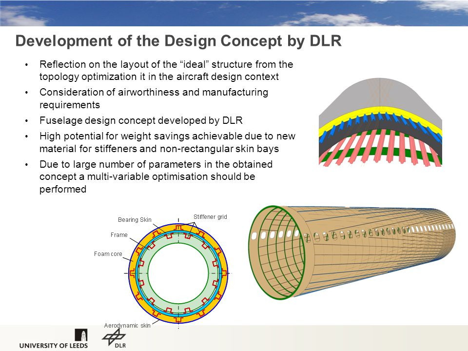 Development of the Design Concept by DLR Reflection on the layout of the ideal structure from the topology optimization it in the aircraft design context Consideration of airworthiness and manufacturing requirements Fuselage design concept developed by DLR High potential for weight savings achievable due to new material for stiffeners and non-rectangular skin bays Due to large number of parameters in the obtained concept a multi-variable optimisation should be performed