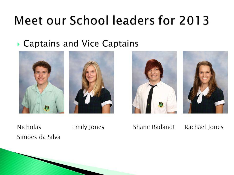 Captains and Vice Captains Nicholas Emily Jones Shane Radandt Rachael Jones Simoes da Silva