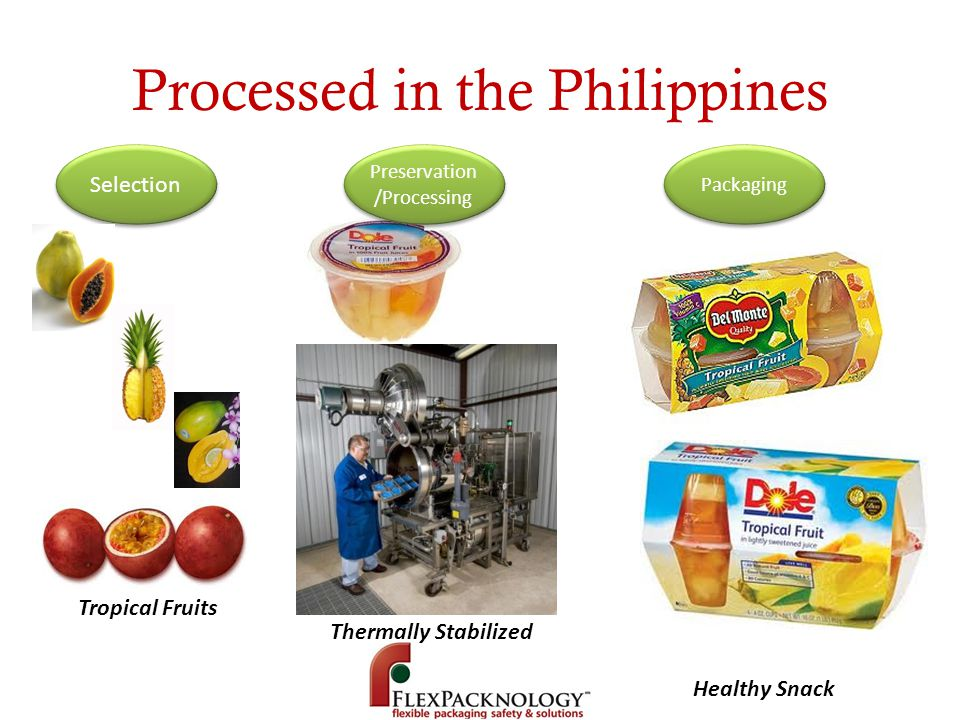 Processed in the Philippines Selection Preservation /Processing Packaging Tropical Fruits Healthy Snack Thermally Stabilized