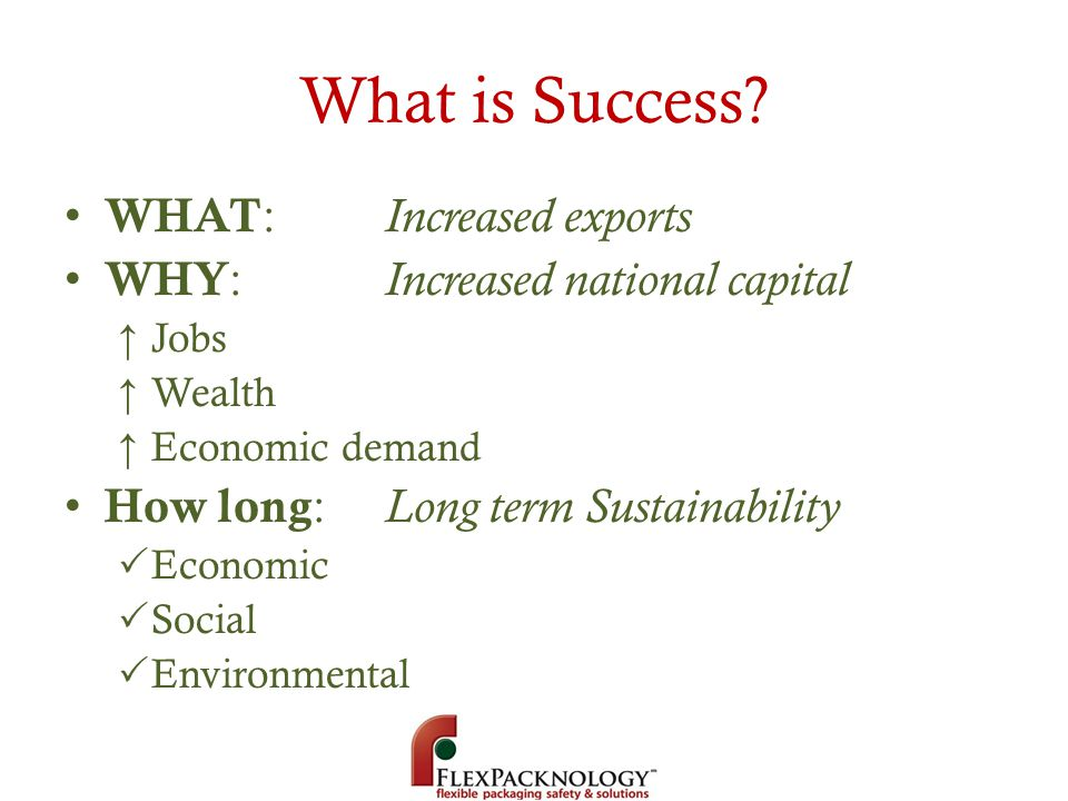 What is Success? WHAT : Increased exports WHY : Increased national capital Jobs Wealth Economic demand How long : Long term Sustainability Economic So