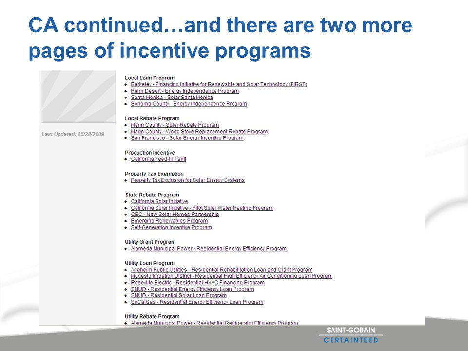 CA continued…and there are two more pages of incentive programs