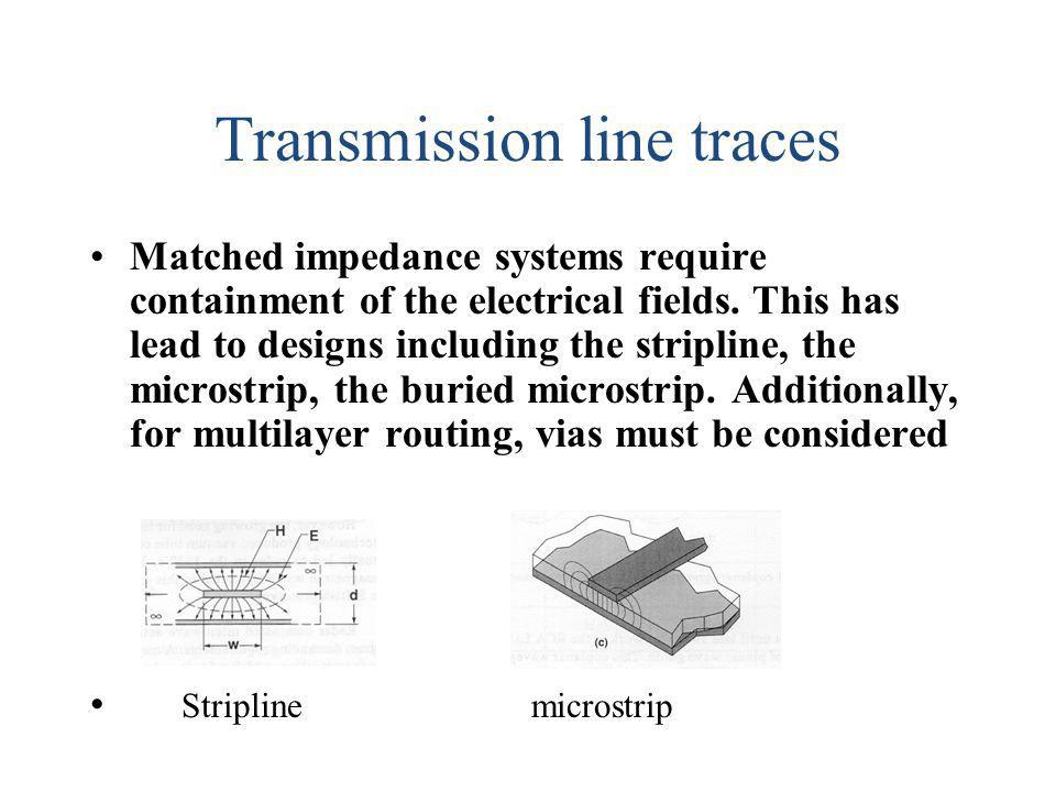 Transmission line traces Matched impedance systems require containment of the electrical fields. This has lead to designs including the stripline, the