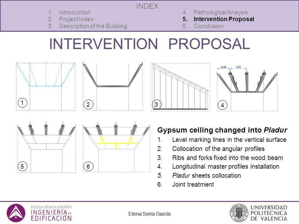 Elena Serra García INTERVENTION PROPOSAL Elena Serra García 1.Introduction 4. Pathological Anaysis 2.Project Index5. Intervention Proposal 3.Descripti