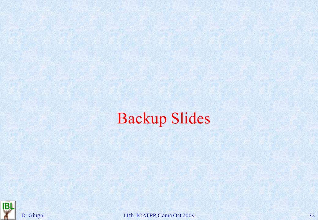 Backup Slides D. Giugni11th ICATPP, Como Oct 200932