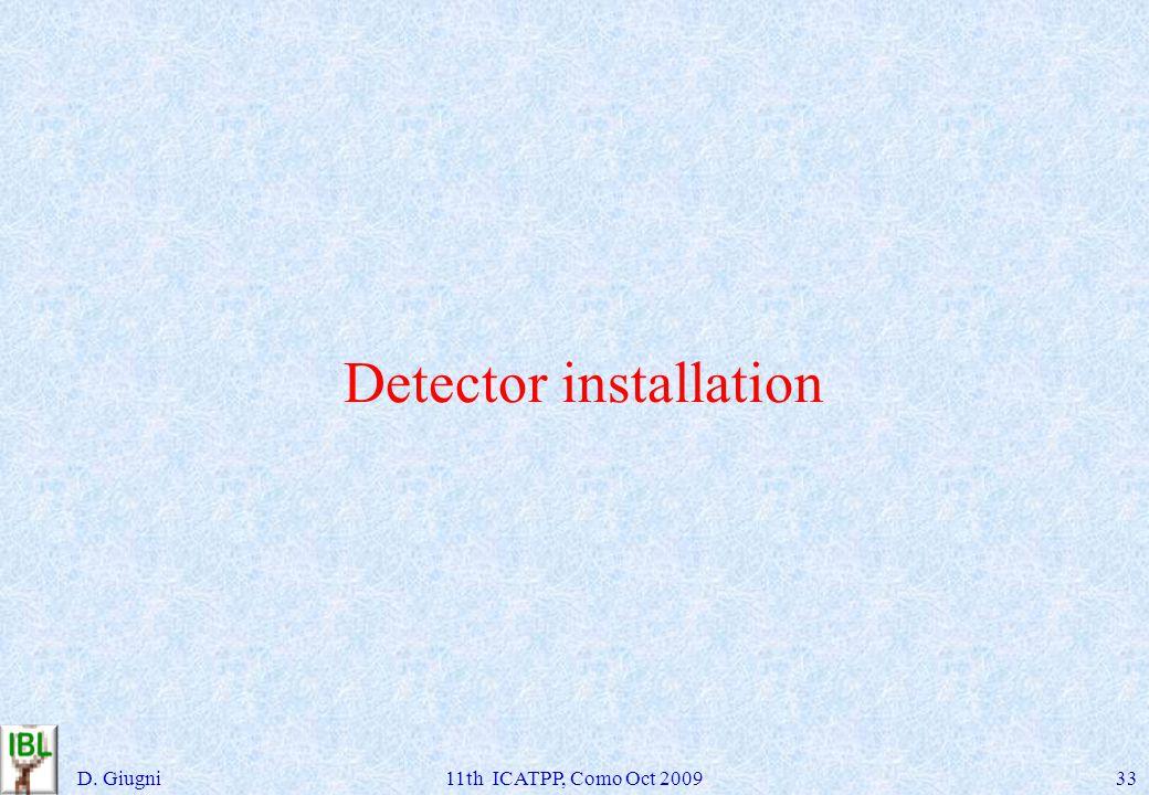 Detector installation D. Giugni11th ICATPP, Como Oct 200933