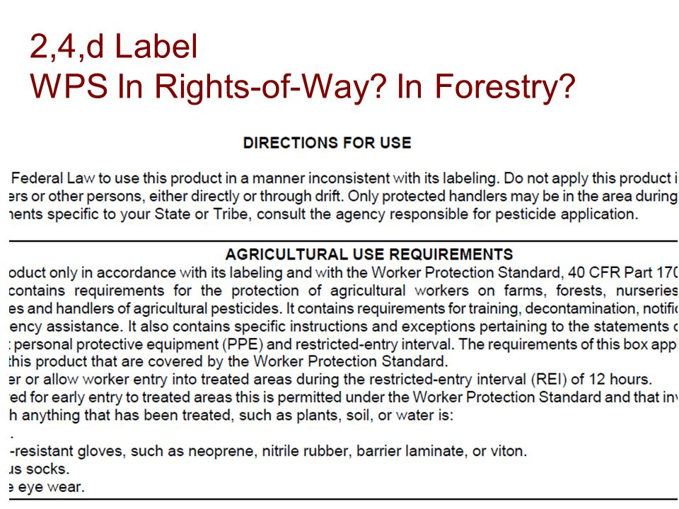 2,4,d Label WPS In Rights-of-Way In Forestry
