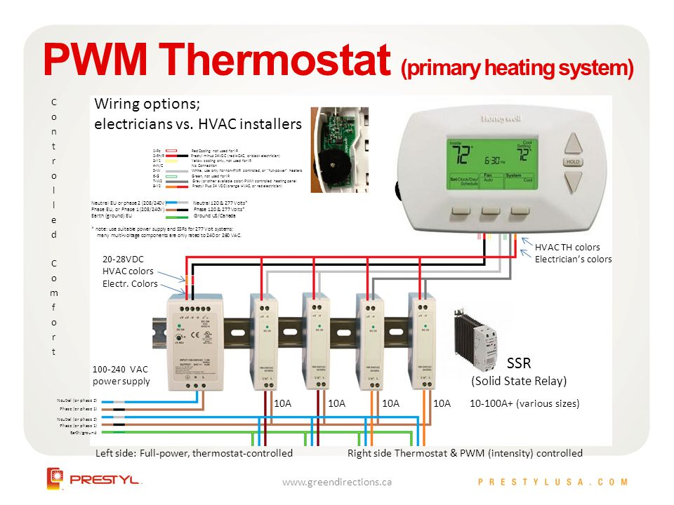 PWM Thermostat (primary heating system) Wiring options; electricians vs. HVAC installers 1-Rc Red Cooling not used for IR 2-Rh/R Prestyl minus 24VDC (