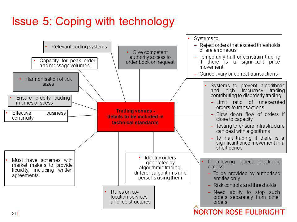 Issue 5: Coping with technology Systems to: –Reject orders that exceed thresholds or are erroneous –Temporarily halt or constrain trading if there is a significant price movement –Cancel, vary or correct transactions Trading venues - details to be included in technical standards Systems to prevent algorithmic and high frequency trading contributing to disorderly trading: –Limit ratio of unexecuted orders to transactions –Slow down flow of orders if close to capacity –Testing to ensure infrastructure can deal with algorithms –To halt trading if there is a significant price movement in a short period If allowing direct electronic access: –To be provided by authorised entities only –Risk controls and thresholds –Need ability to stop such orders separately from other orders Must have schemes with market makers to provide liquidity, including written agreements Rules on co- location services and fee structures Identify orders generated by algorithmic trading, different algorithms and persons using them Give competent authority access to order book on request Relevant trading systems Capacity for peak order and message volumes Ensure orderly trading in times of stress Effective business continuity Harmonisation of tick sizes 21