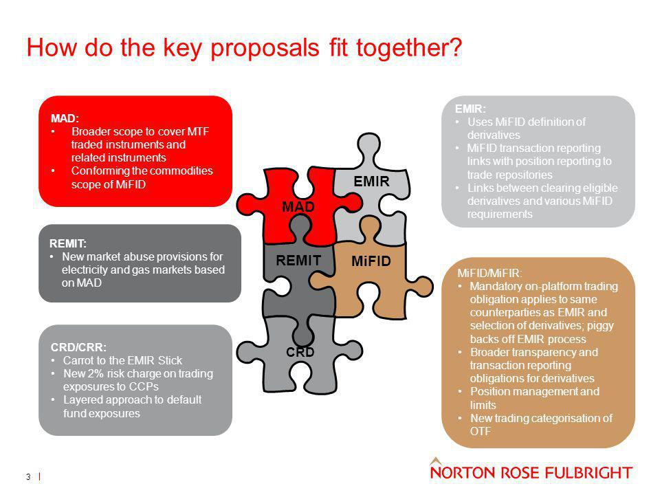 How do the key proposals fit together? REMIT EMIR MAD MiFID CRD MAD: Broader scope to cover MTF traded instruments and related instruments Conforming