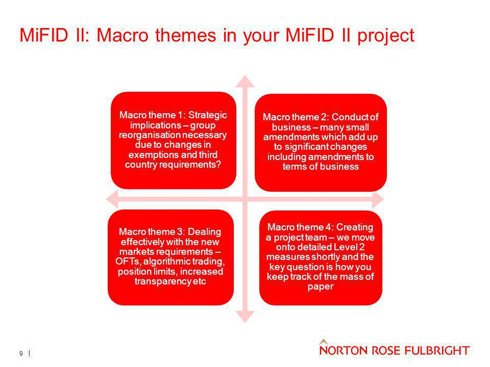 MiFID II: Macro themes in your MiFID II project Macro theme 1: Strategic implications – group reorganisation necessary due to changes in exemptions and third country requirements.