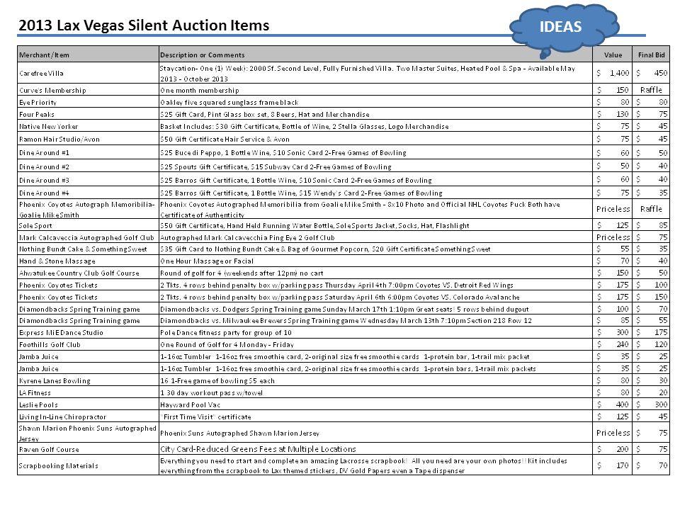 2013 Lax Vegas Silent Auction Items IDEAS