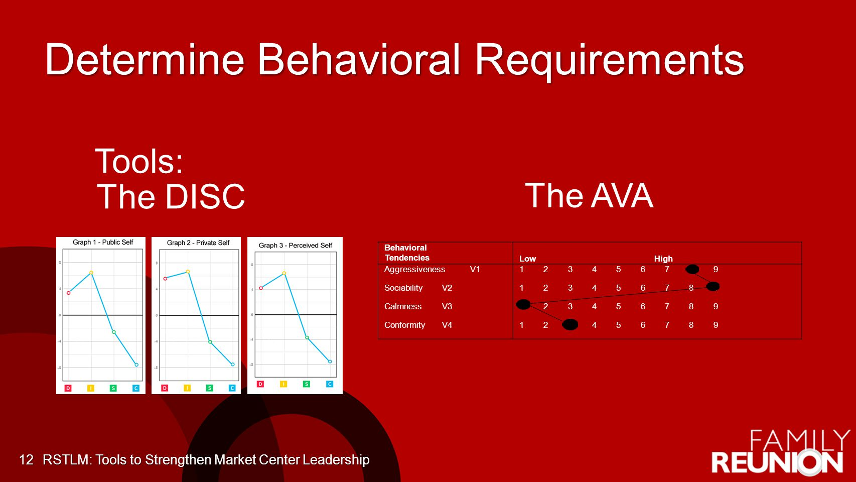 Determine Behavioral Requirements 12 The DISC Behavioral Tendencies LowHigh AggressivenessV1 SociabilityV2 CalmnessV3 ConformityV4 1 2 3 4 5 6 7 8 9 The AVA Tools: RSTLM: Tools to Strengthen Market Center Leadership