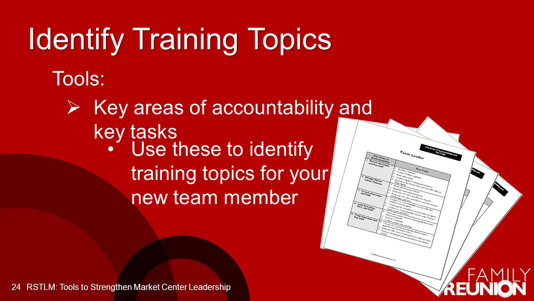 Identify Training Topics 24 Tools: Key areas of accountability and key tasks Use these to identify training topics for your new team member RSTLM: Tools to Strengthen Market Center Leadership