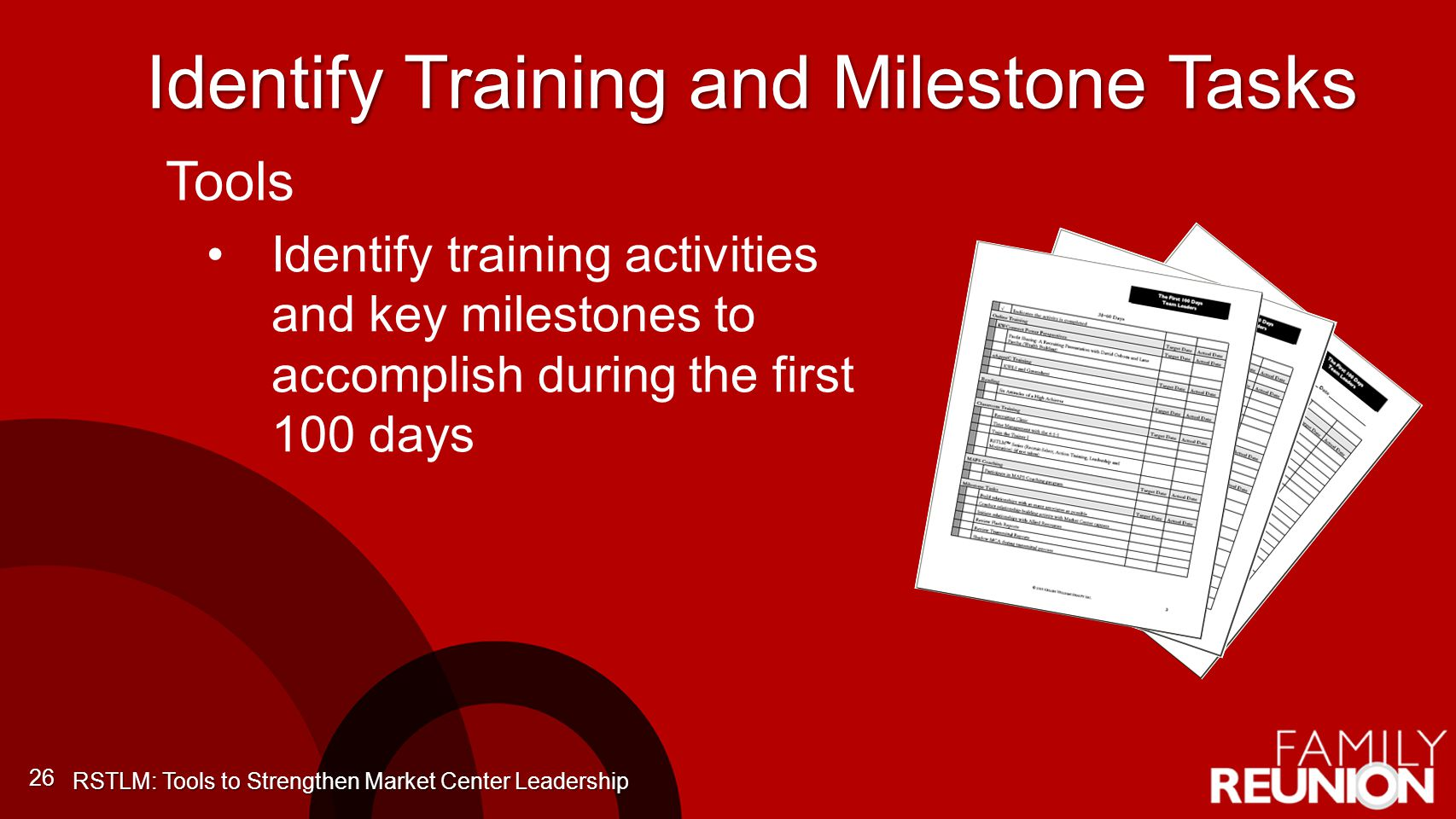 Identify Training and Milestone Tasks 26 Identify training activities and key milestones to accomplish during the first 100 days RSTLM: Tools to Strengthen Market Center Leadership Tools