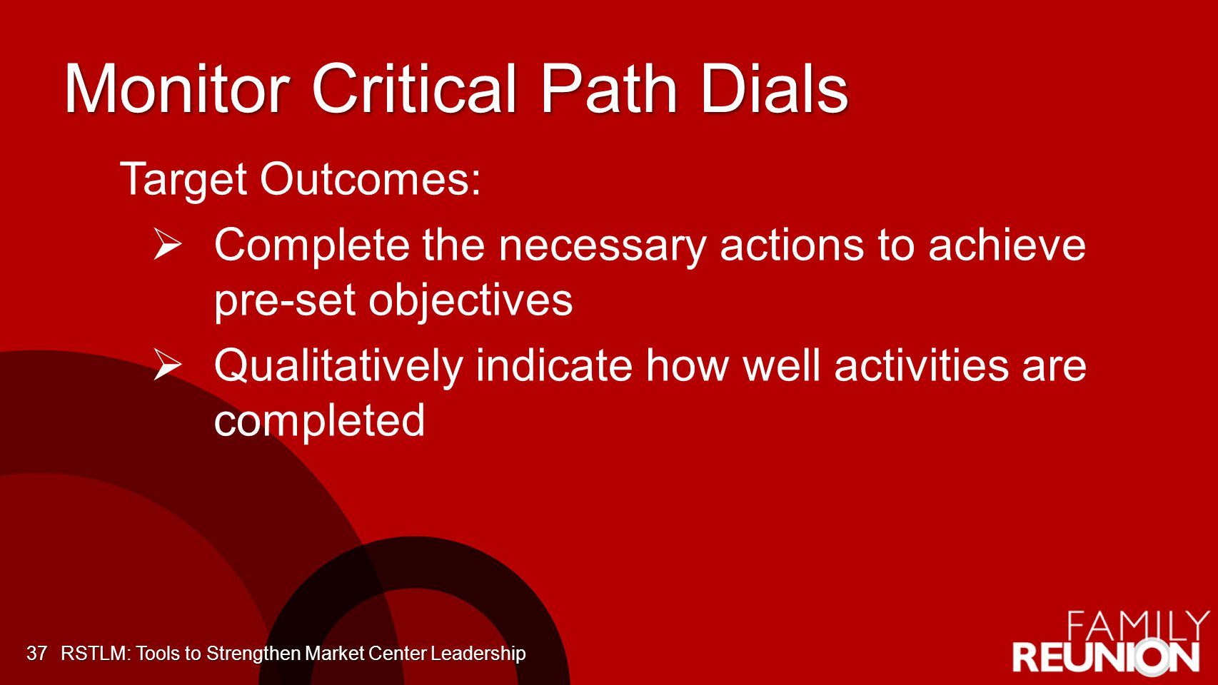 Monitor Critical Path Dials 37 Target Outcomes: Complete the necessary actions to achieve pre-set objectives Qualitatively indicate how well activities are completed RSTLM: Tools to Strengthen Market Center Leadership