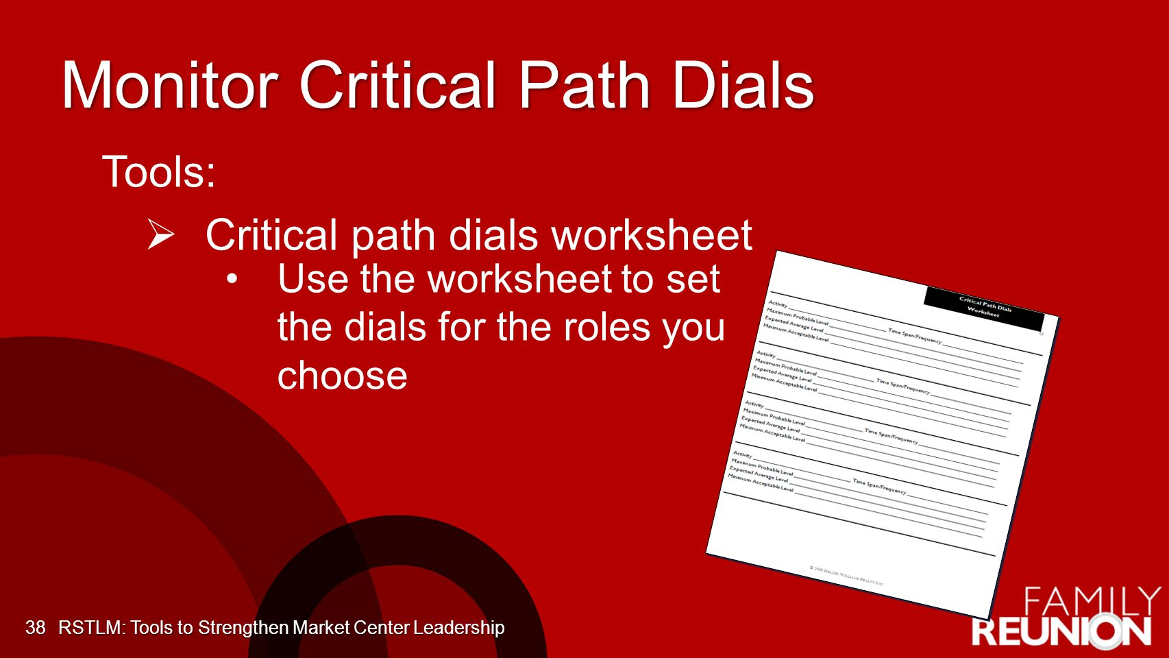 Monitor Critical Path Dials 38 Tools: Critical path dials worksheet Use the worksheet to set the dials for the roles you choose RSTLM: Tools to Streng