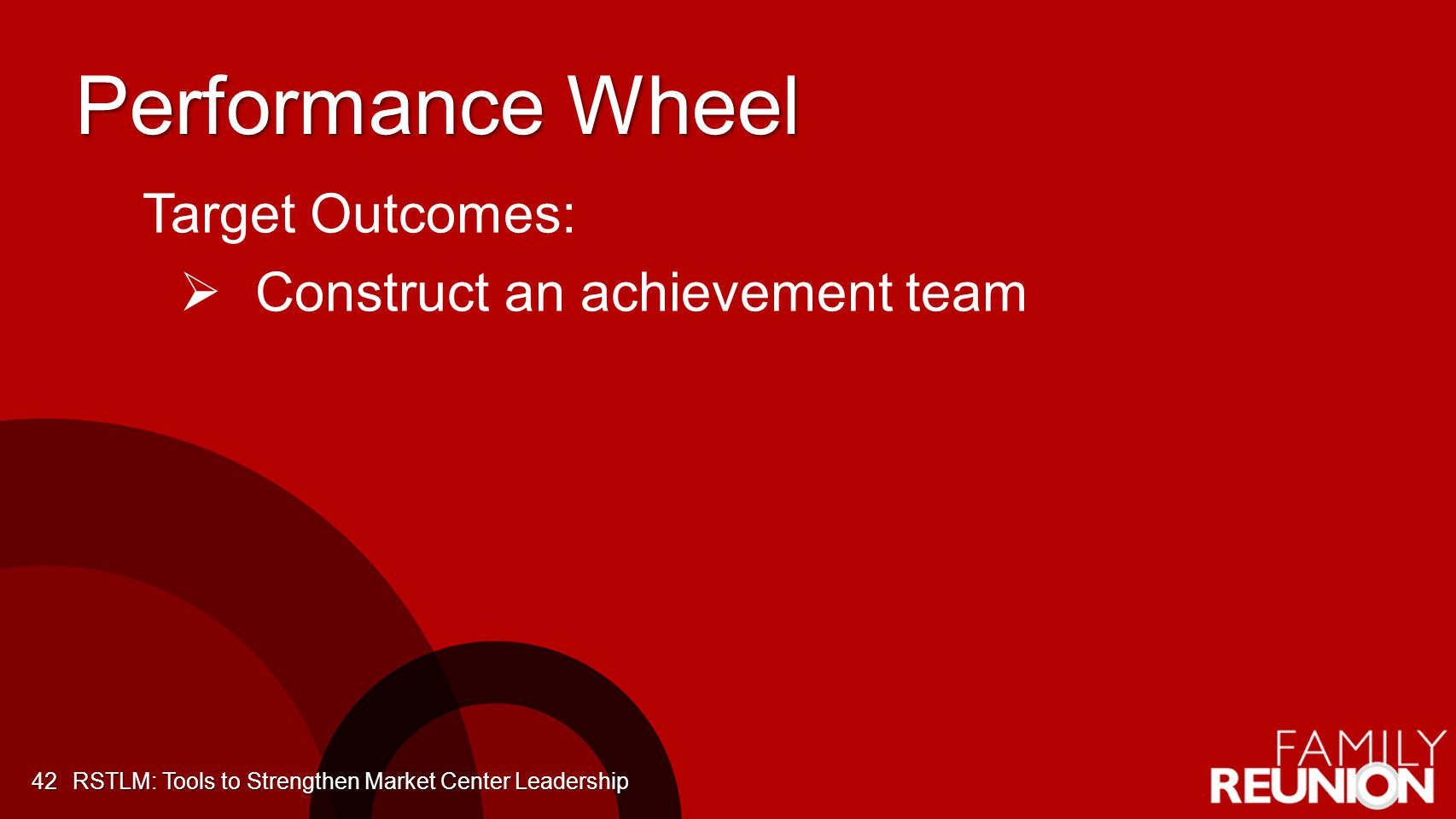 Performance Wheel 42 Target Outcomes: Construct an achievement team RSTLM: Tools to Strengthen Market Center Leadership