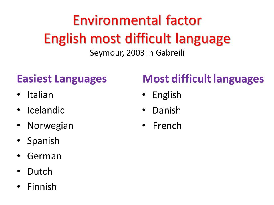 Environmental factor English most difficult language Environmental factor English most difficult language Seymour, 2003 in Gabreili Easiest Languages