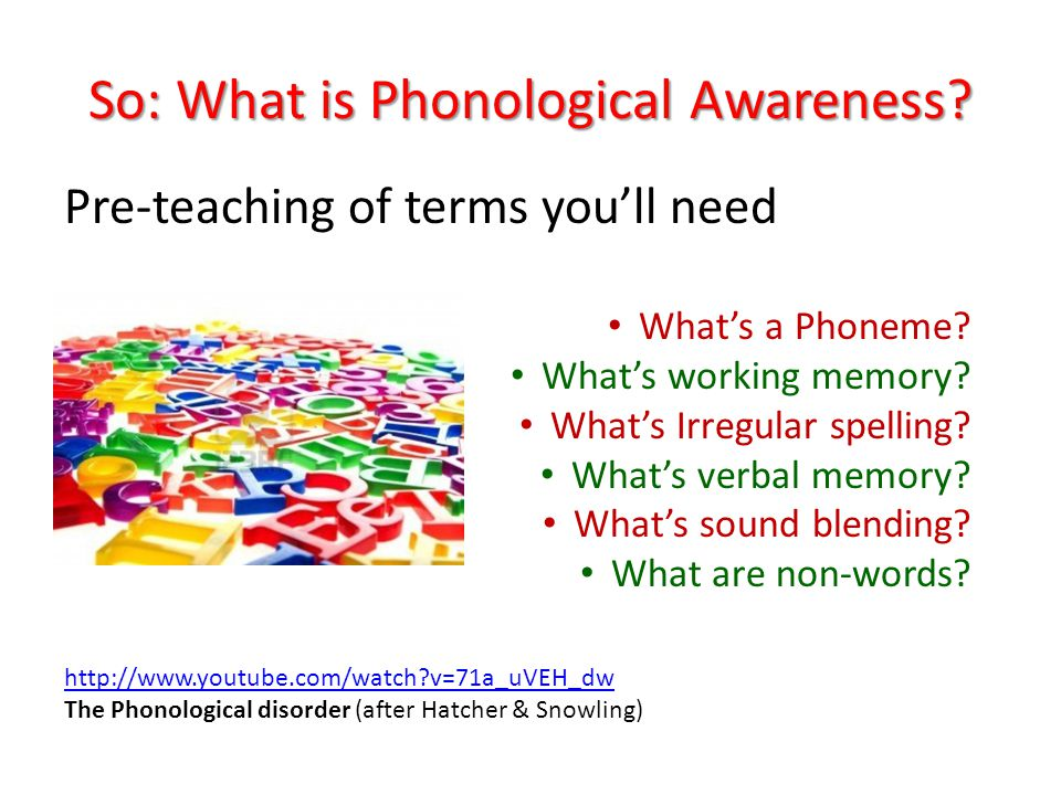 So: What is Phonological Awareness? Pre-teaching of terms youll need Whats a Phoneme? Whats working memory? Whats Irregular spelling? Whats verbal mem