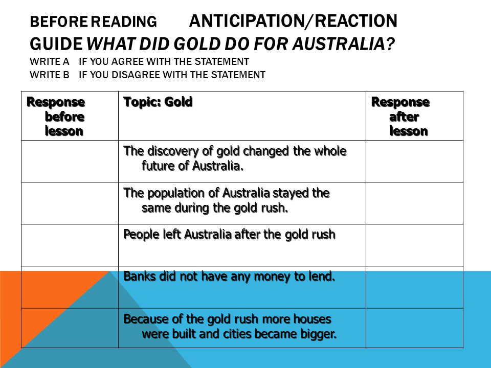 BEFORE READING ANTICIPATION/REACTION GUIDE WHAT DID GOLD DO FOR AUSTRALIA.