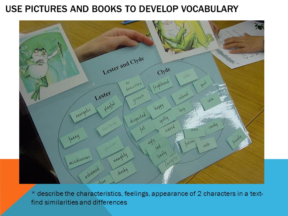 * describe the characteristics, feelings, appearance of 2 characters in a text- find similarities and differences USE PICTURES AND BOOKS TO DEVELOP VOCABULARY