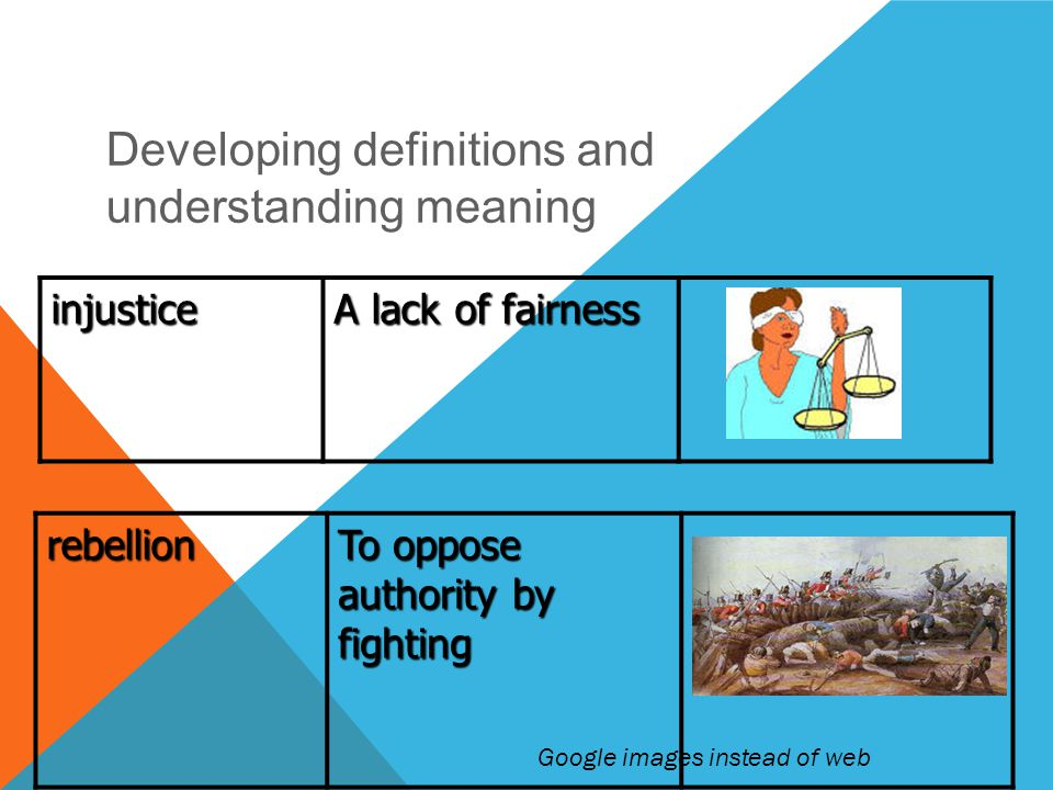 DEVELOPING VOCABULARY injustice A lack of fairness rebellion To oppose authority by fighting Developing definitions and understanding meaning Google images instead of web