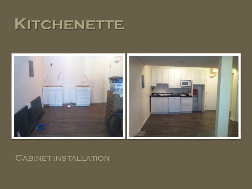 Kitchenette Cabinet installation