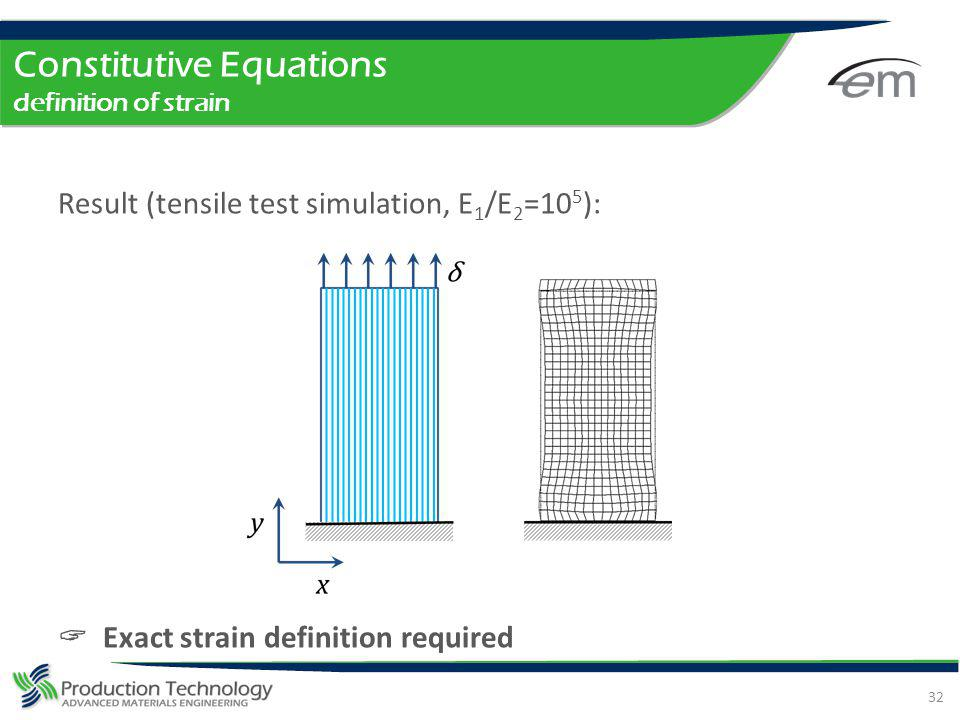 Constitutive Equations definition of strain Result (tensile test simulation, E 1 /E 2 =10 5 ): Exact strain definition required 32