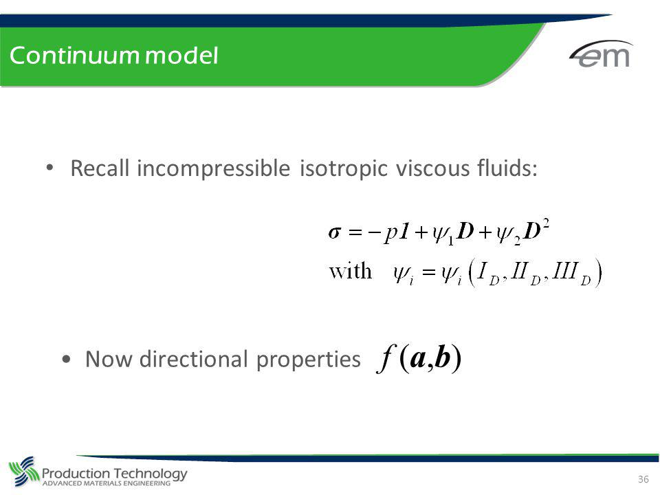 Continuum model Now directional properties f (a,b) Recall incompressible isotropic viscous fluids: 36