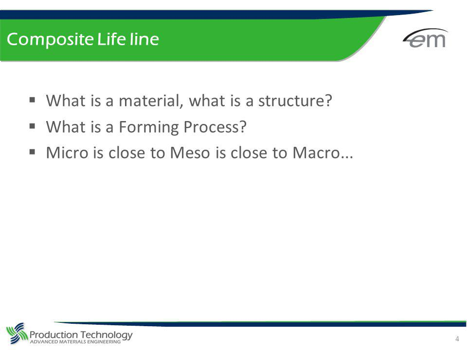 Composite Life line What is a material, what is a structure? What is a Forming Process? Micro is close to Meso is close to Macro... 4