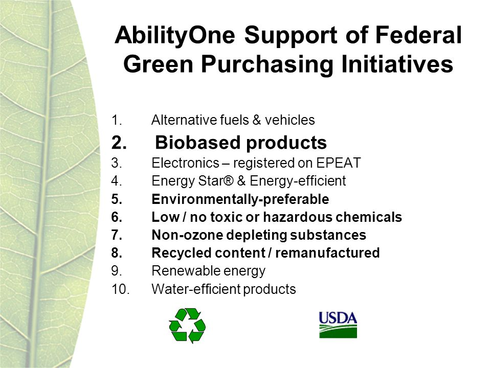 1. Alternative fuels & vehicles 2. Biobased products 3.